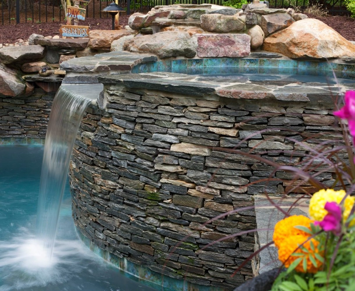 Augusta Natural Thin Stone Veneer Pool and Spa