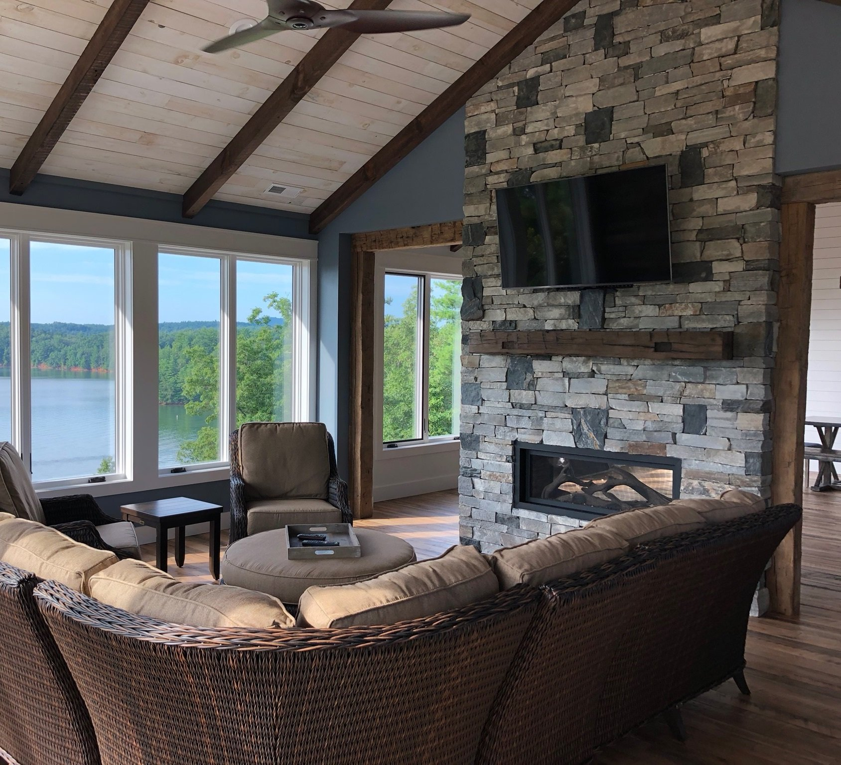 Augusta and Quincy Custom Blend Real Thin Stone Veneer Interior Fireplace