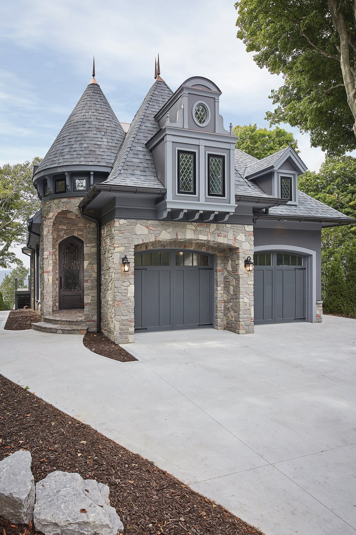 Brookhaven Real Thin Stone Veneer Garage and Front Entrance