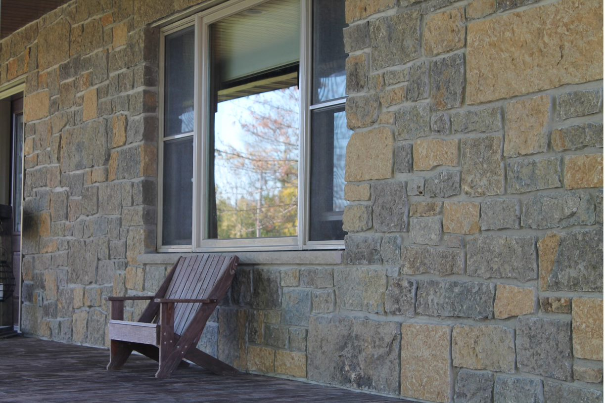 Castle Ridge and Baltic Hills Real Stone Veneer Blend Front Porch Accent Wall