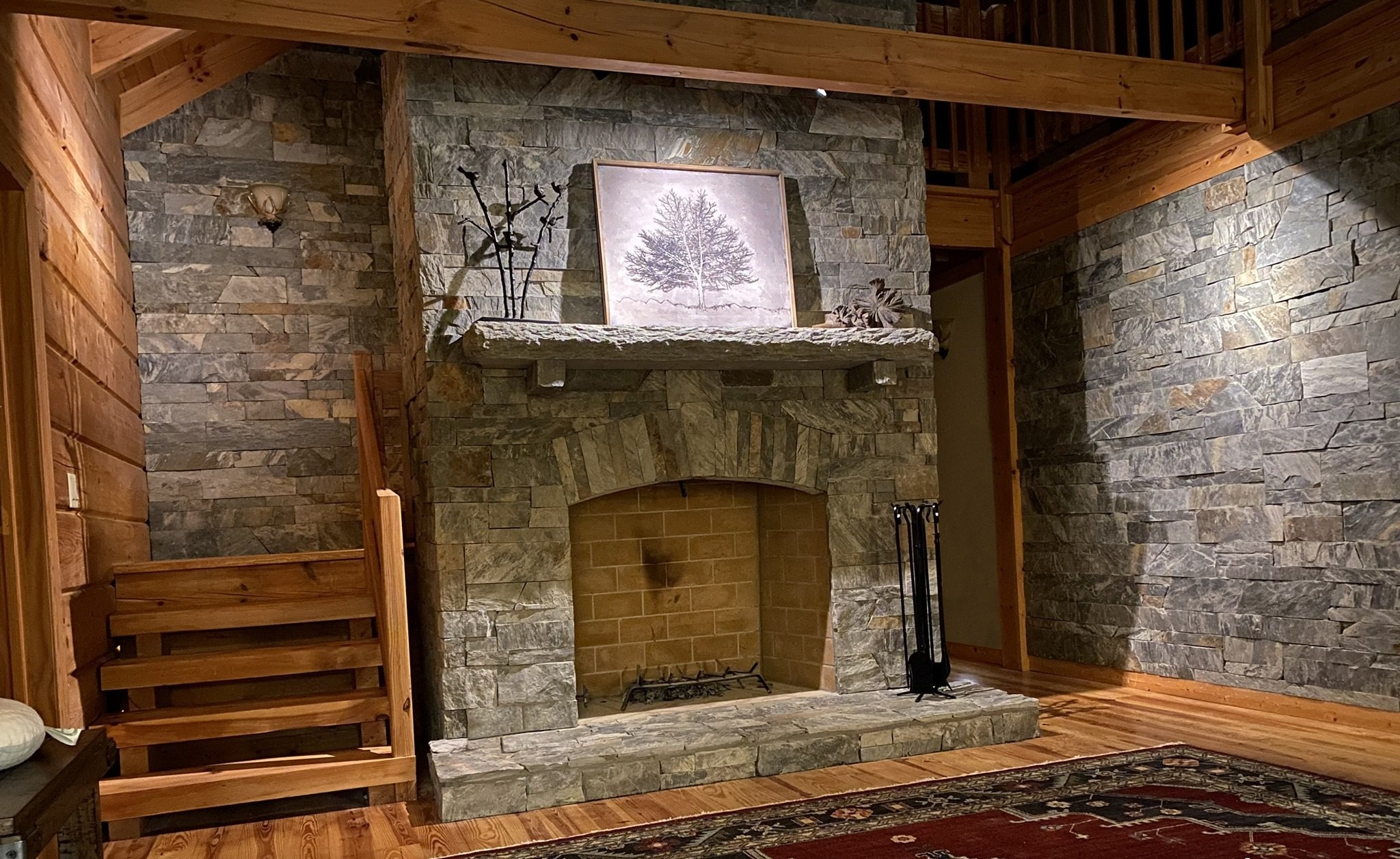 Coventry Natural Thin Stone Veneer Fireplace and Interior Walls