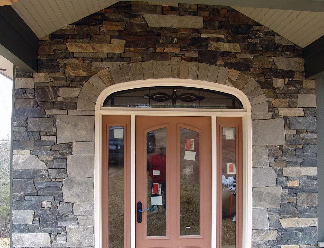Coventry and Charleston Real Thin Stone Veneer Custom Blend Front Entrance