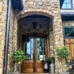Dakota Ashlar Natural Stone Veneer Front Entrance with Tan Mortar