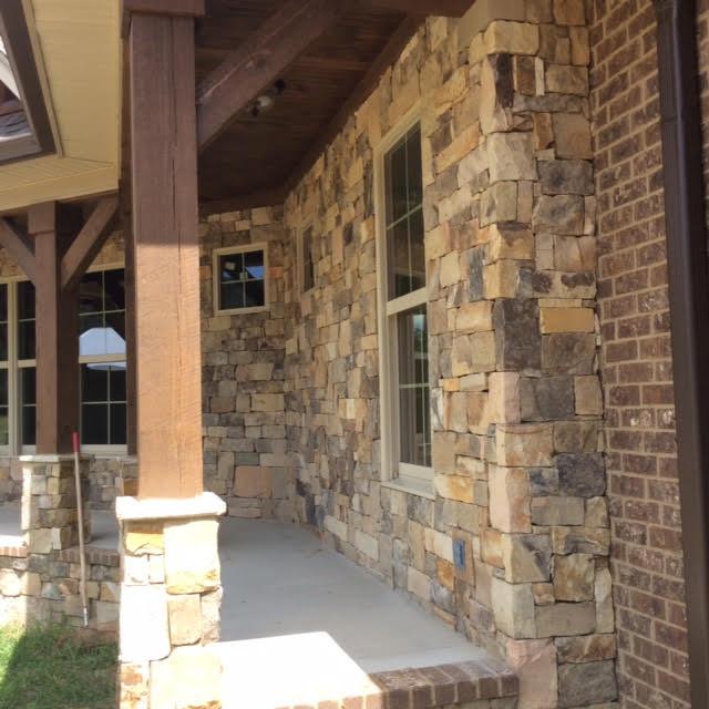 Hillsborough Ashlar Real Thin Stone Veneer Front Porch