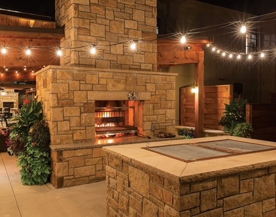 Newcastle Dimensional Natural Thin Stone Veneer Outdoor Living Fireplace