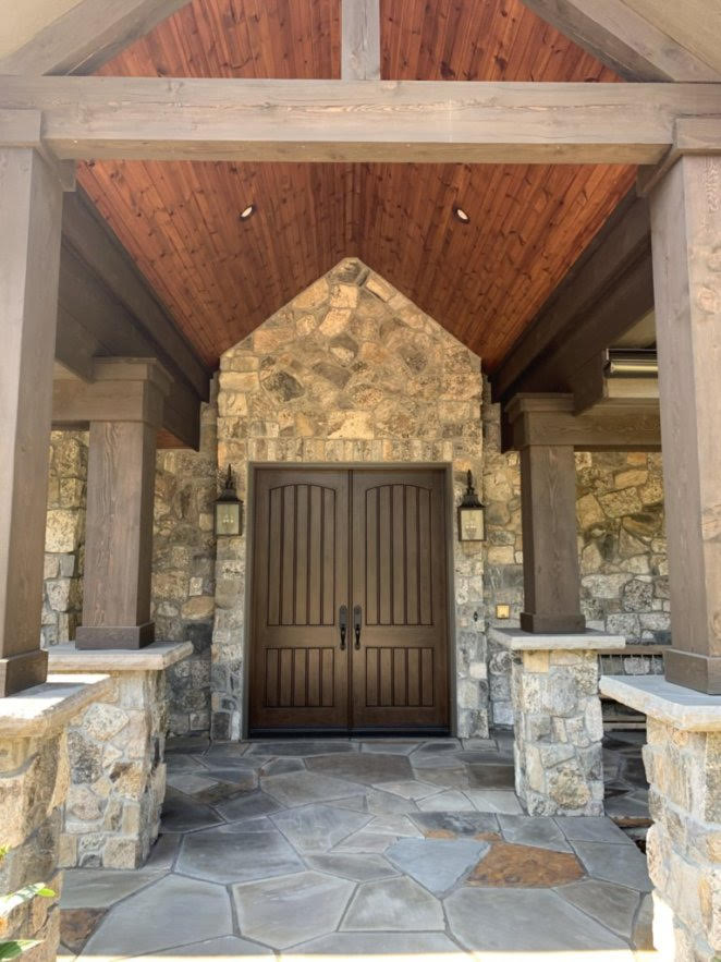 Pinedale Natural Thin Stone Veneer Front Entrance