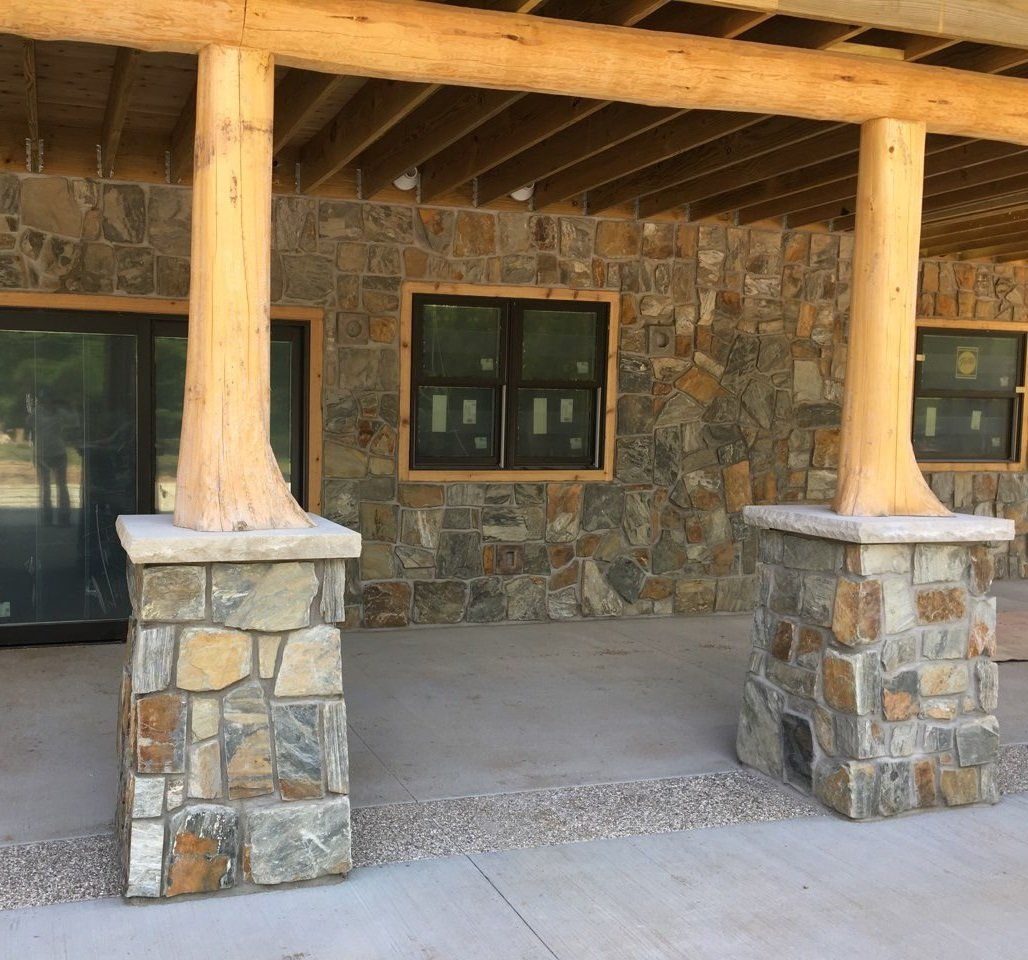Rochester Natural Thin Stone Veneer Covered Patio