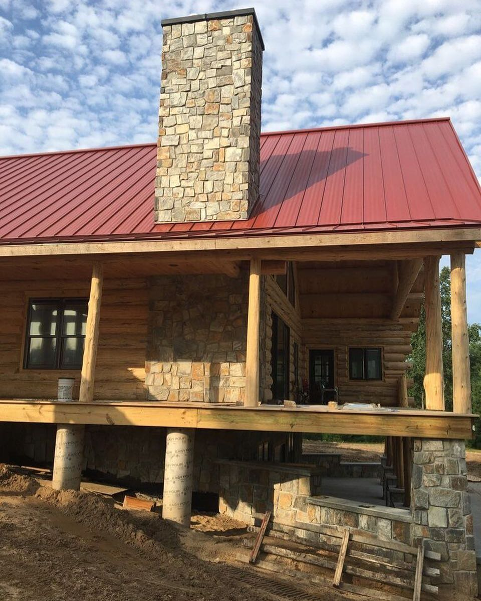 Rochester Real Thin Stone Veneer Log Cabin Siding