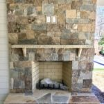 Rochester and Whistler Blend Real Thin Stone Veneer Fireplace