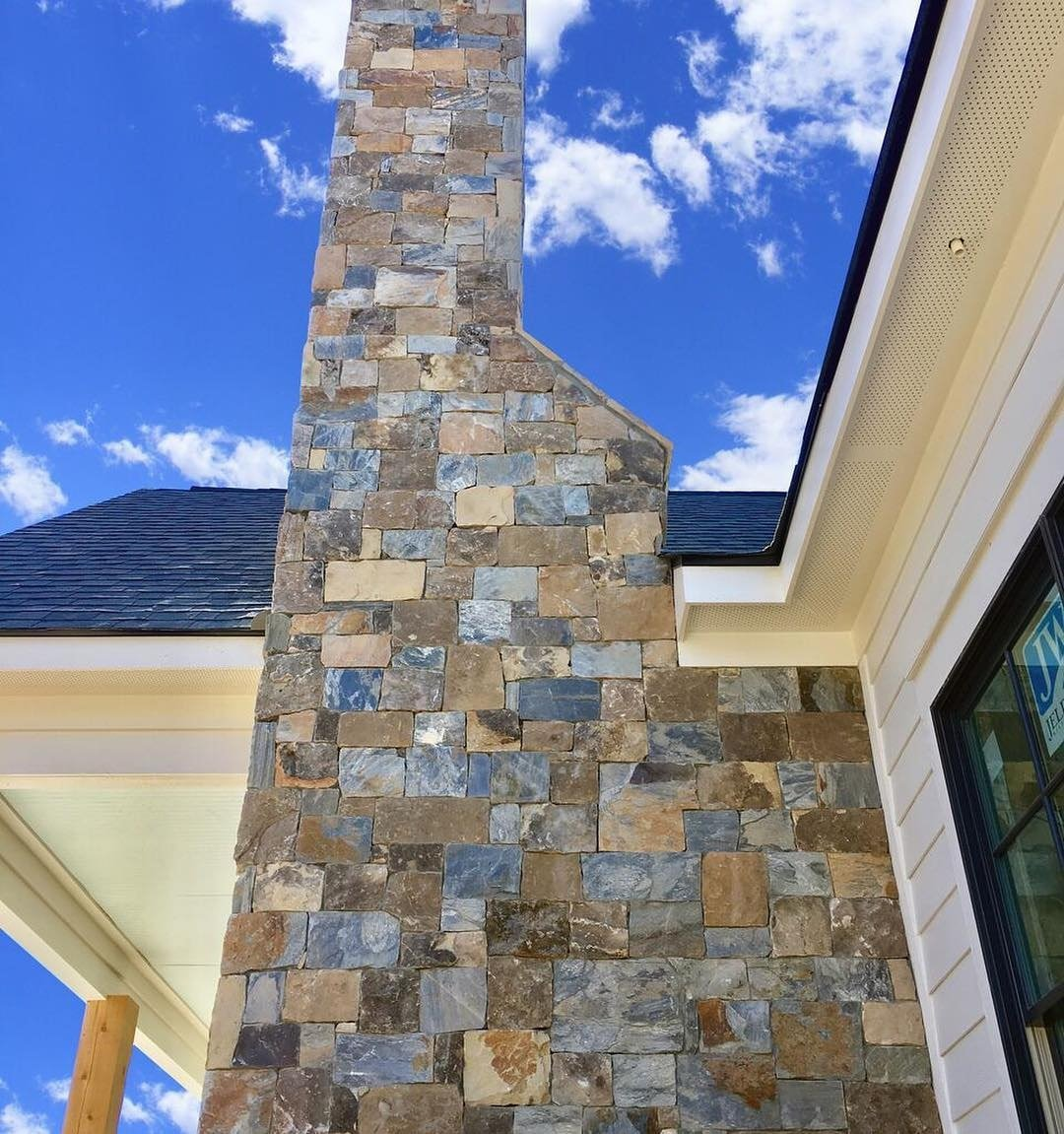Rochester and Whistler Blend Real Stone Veneer Exterior Accent Wall