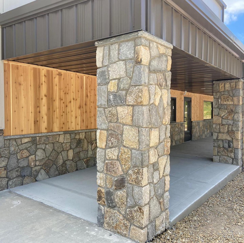 Salem Real Thin Stone Veneer Custom Mosaic Commercial Exterior