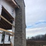 Vineyard Natural Stone Veneer Chimney Installation