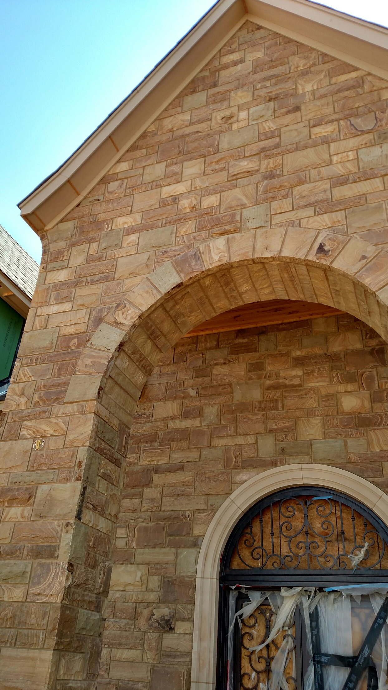 Brentwood Dimensional Real Thin Stone Veneer Front Entrance