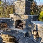 Brighton Natural Thin Stone Veneer Drystack Outdoor Living Fireplace