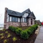 Cherrywood Natural Thin Stone Veneer Lakehouse Exterior