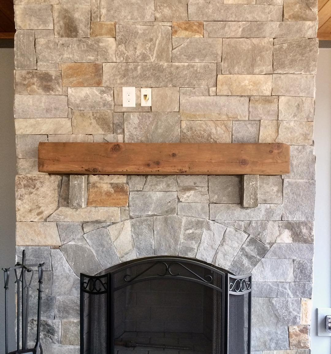 Hampton and Queen Creek Custom Thin Stone Veneer Interior Drystack Fireplace