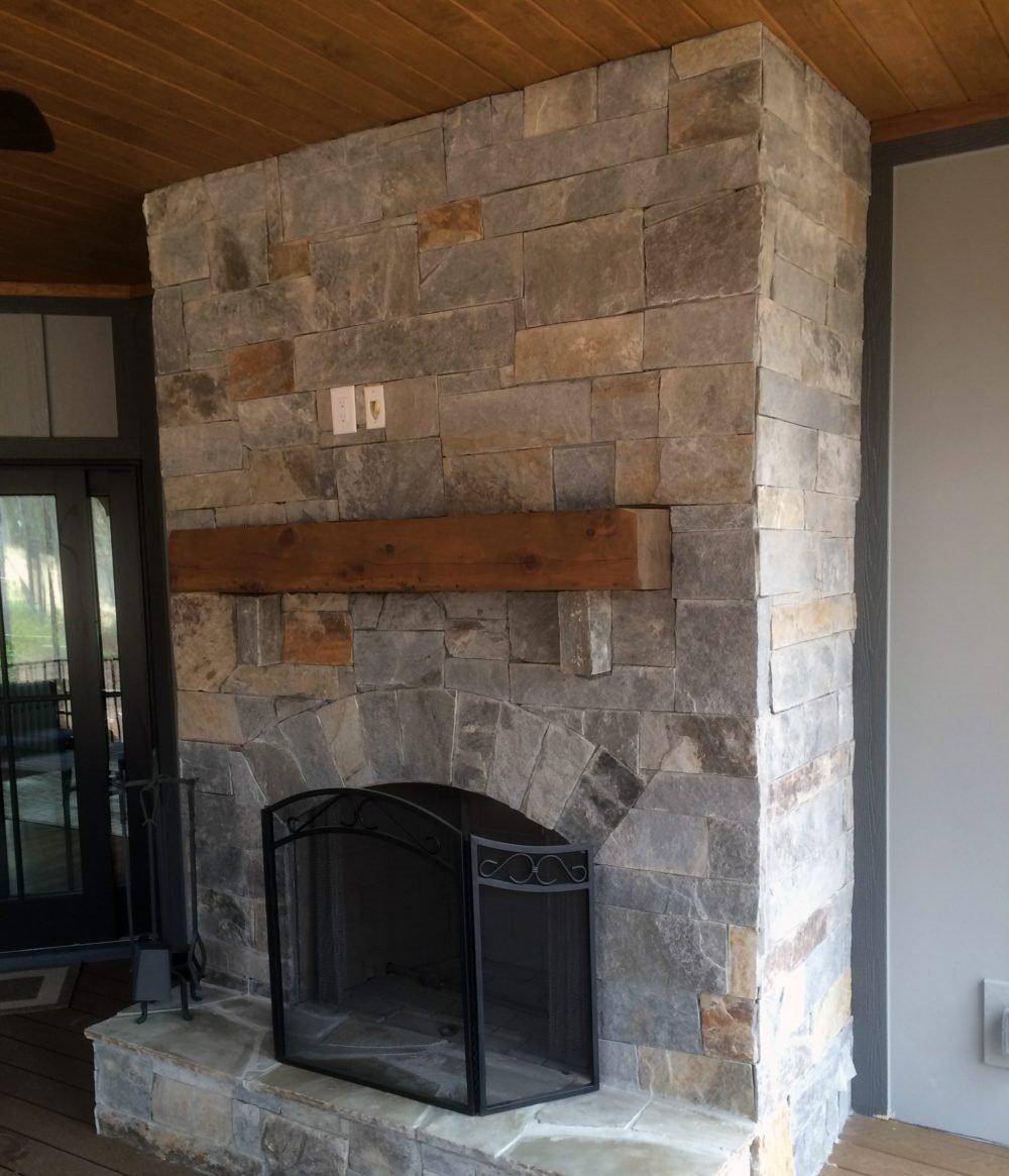Hampton and Queen Creek Thin Stone Veneer Interior Drystack Fireplace