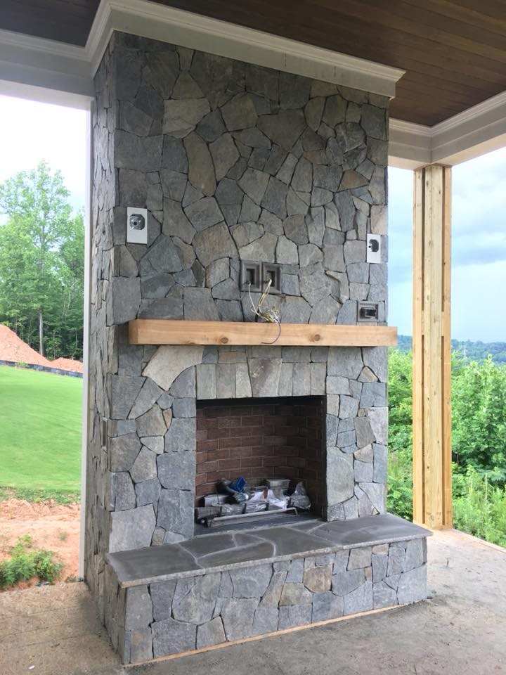 Lowell Real Thin Stone Veneer Drystack Outdoor Fireplace
