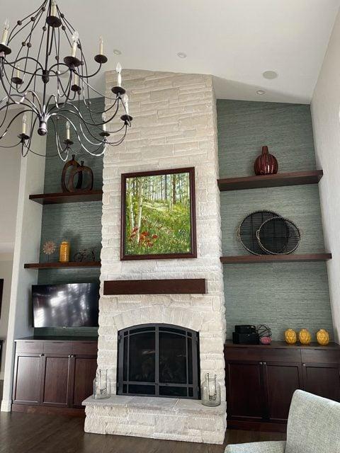 Snowcap White Dimensional Natural Thin Stone Veneer Interior Fireplace